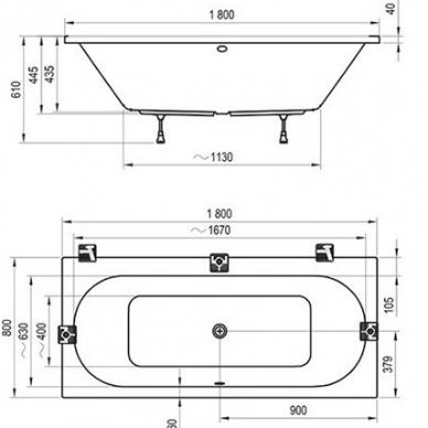 Ravak stačiakampė akrilinė vonia City 180x80cm 4