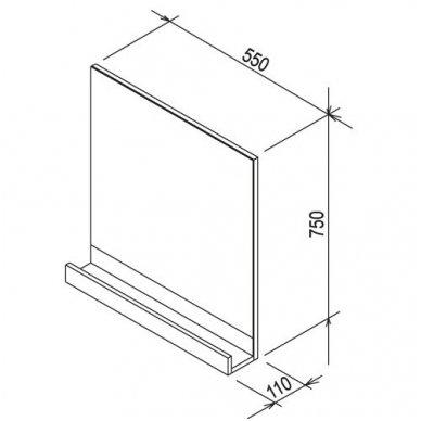 Ravak veidrodis 10° 550 mm su lentynėle, baltas 2
