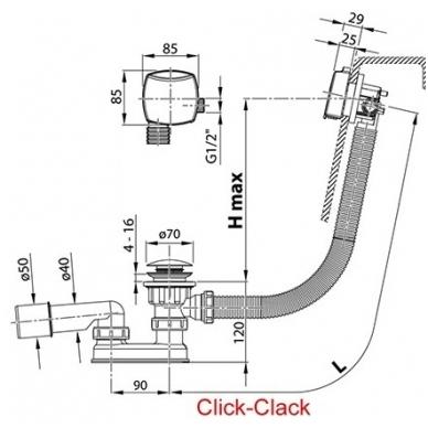 Ravak vonios sifonas, užpildantis vonią vandeniu, ClickClack X01440 2