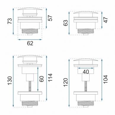REA ventilis praustuvui Click-Clack Chrom, universalus 3