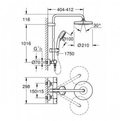 Termostatinė dušo sistema Grohe Euphoria System 210 3