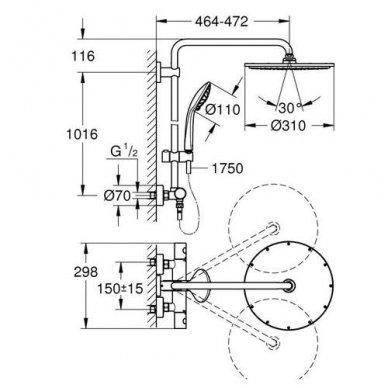 Termostatinė dušo sistema Grohe Euphoria XXL System 310 4