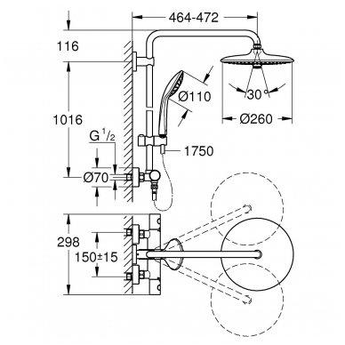 Termostatinė dušo sistema Grohe Euphoria System 260 3