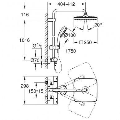 Termostatinė dušo sistema Grohe Tempesta Cosmopolitan 250 Cube 26689000 3