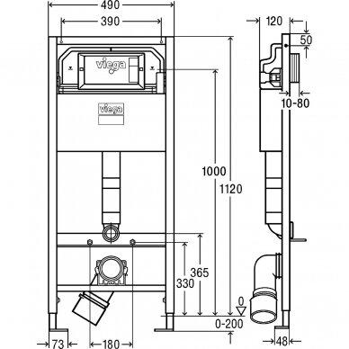 Viega Prevista WC rėmas su laikikliais ir chromuotu mygtuku 792596 3