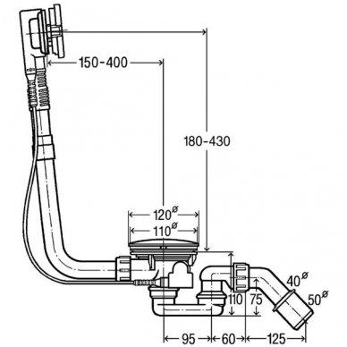 Viega vonios sifonas Simplex su reguliuojama perpylimo sistema Dn50/40 prailgintas 595678 2