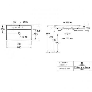 Villeroy&Boch keraminis praustuvas Collaro 800x470mm 4A338001 4