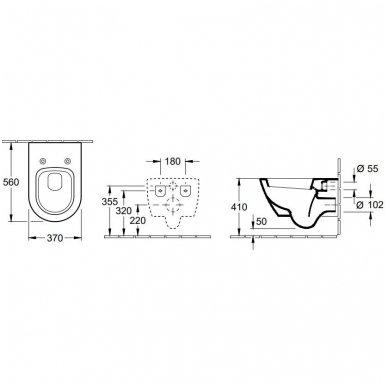 Villeroy&Boch pakabinamas unitazas Subway 2.0 su plonu Soft-Close dangčiu 2