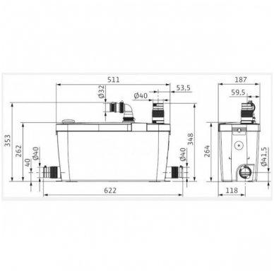 Wilo buitinis nefekalinių nuotekų perpumpavimo įrenginis HiDrainlift 3-35 2