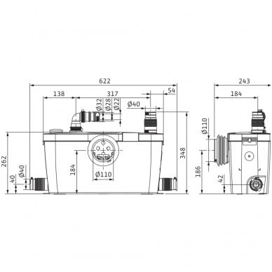 Wilo buitinis fekalinių nuotekų perpumpavimo įrenginis HiSewlift 3-35 2